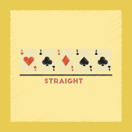 bluff: flat shading style icon poker cards straight