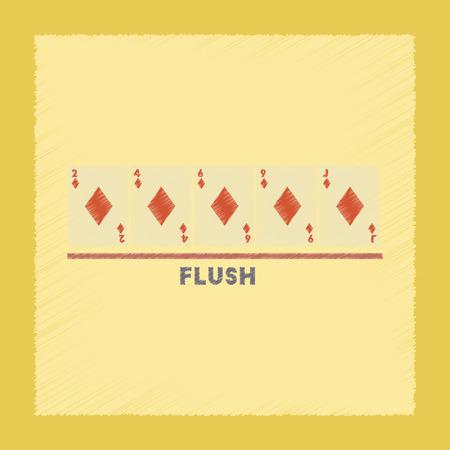 flush: flat shading style icon poker flush cards