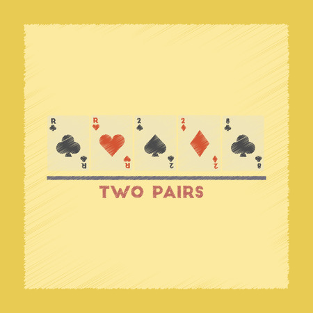 4 of a kind: flat shading style icon poker two pairs