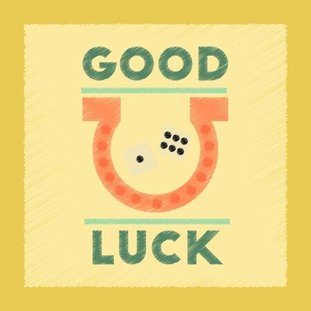luckiness: flat shading style icon poker good luck logo Illustration