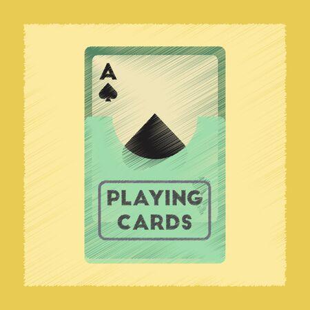 flat shading style icon poker playing cards Illustration