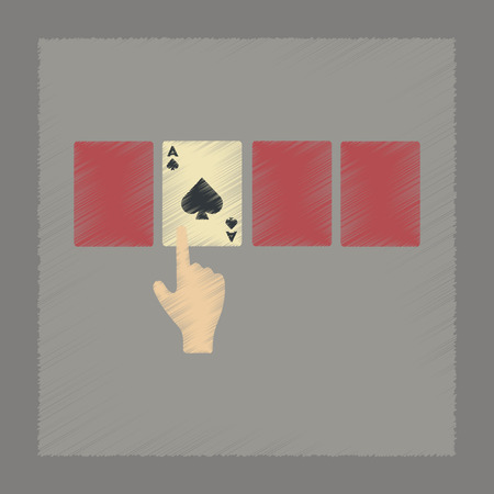 hand holding playing card: flat shading style icon poker hand playing cards