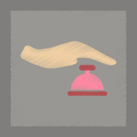 hand bell: flat shading style icon poker hand bell Illustration