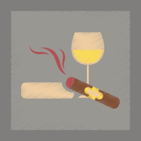 cigar smoking man: flat shading style icon poker cigar glass of wine Illustration