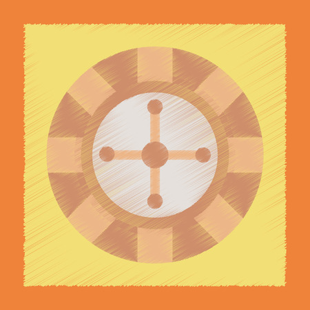 ruleta casino: estilo de sombreado plano ruleta del casino icono de p�quer Vectores