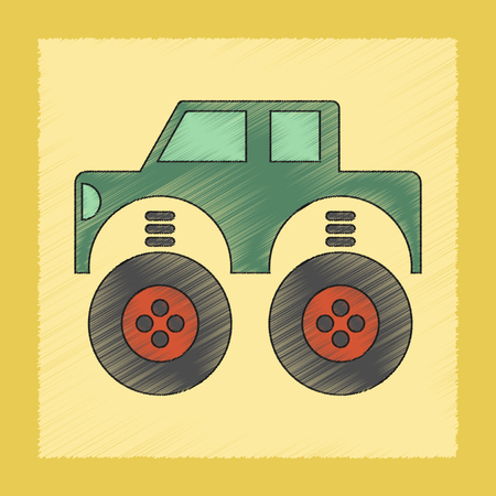 toy the car: flat shading style icon Kids toy car
