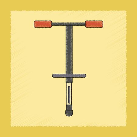 liner transportation: flat shading style icon Kids toy pogo stick