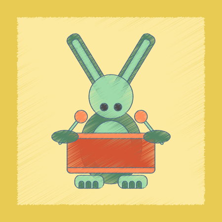 drummer: flat shading style icon Kids toy rabbit drummer