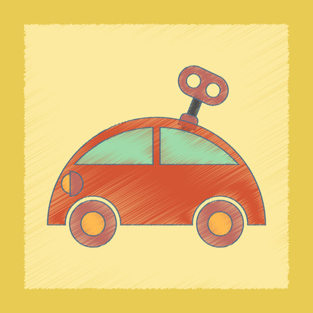 printed machine: flat shading style icon Kids toy car with key Illustration