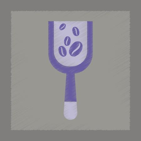 coffee crop: flat shading style icon Scoop coffee roasting Illustration