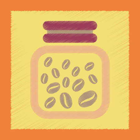 coffee jar: flat shading style icon coffee jar of beans