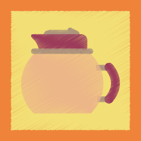 teakettle: flat shading style icon coffee dishware kettle Illustration