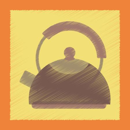 electric tea kettle: flat shading style icon coffee dishware kettle Illustration