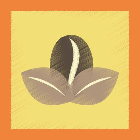 coffee leaf: flat shading style icon coffee bean leaf