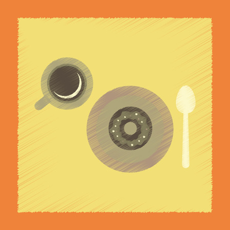 donut style: flat shading style icon coffee break cup donut Illustration