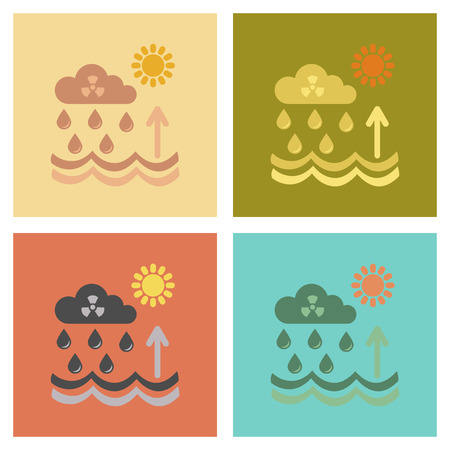 polluted cities: assembly of flat icons nature Radioactive cloud and rain