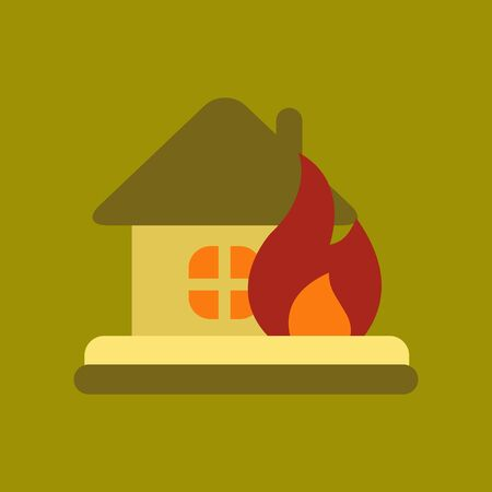 sabotage: flat icon on stylish background nature fire house