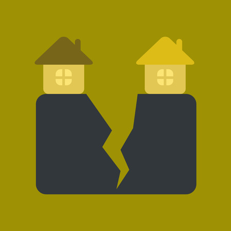 disaster relief: flat icon on stylish background nature house earthquake Illustration