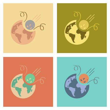 flat earth: assembly of flat icons nature meteorite earth Illustration
