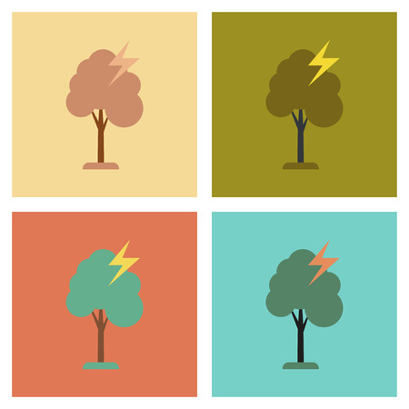 struck: assembly of flat icons nature lightning tree