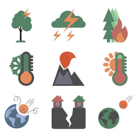 landslide: assembly of flat icons natural danger disasters