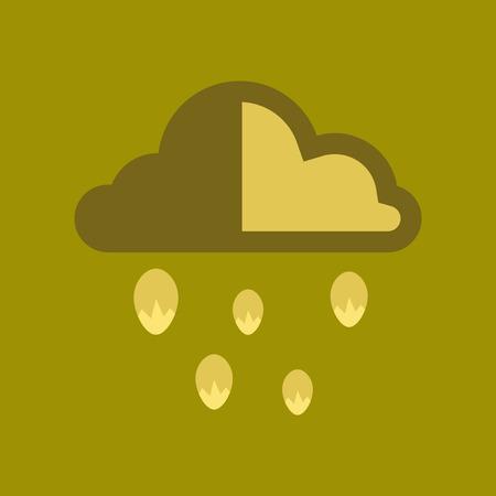 hailstorm: flat icon on stylish background nature cloud hail Illustration