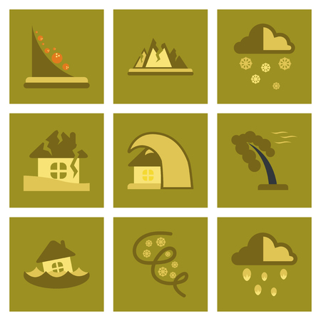 disasters: assembly of flat icons natural danger disasters
