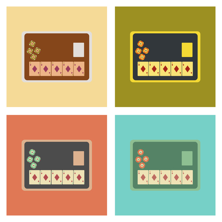 game show: assembly of flat icons poker board card chip Illustration