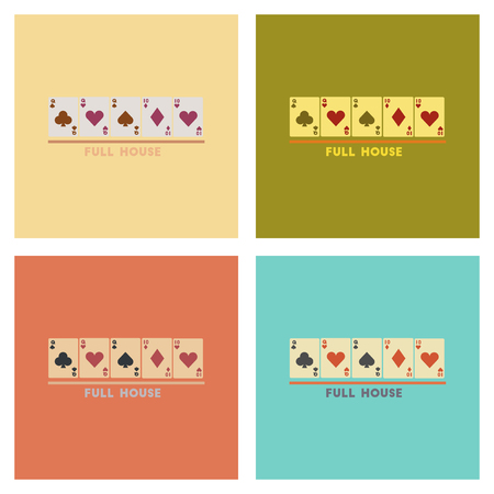 full house: assembly of flat icons poker full house Illustration