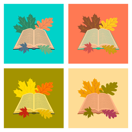 graphic novel: assembly flat icons school open book leaves Illustration