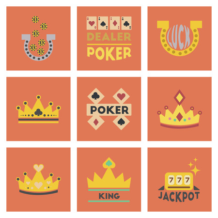 rouleau: assembly of flat icons casino poker symbols
