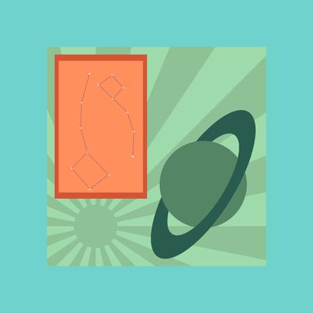pedagogy: flat icon on stylish background education astronomy lesson Illustration