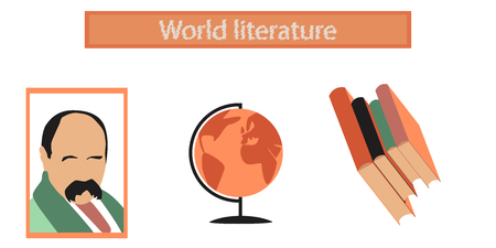 edutainment: assembly flat icons school Ukrainian literature lesson