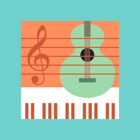 musical score: flat icon on stylish background school music lesson Illustration