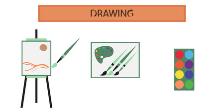 lesson: assembly of flat icons school drawing lesson Illustration