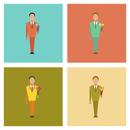 schoolboy: assembly of flat icons Cartoon schoolboy flowers