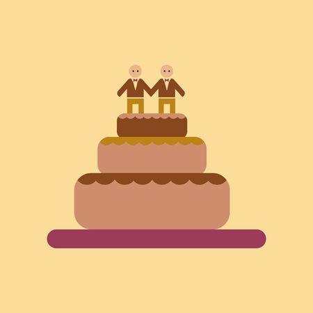 nontraditional: flat icon on stylish background gays wedding cake
