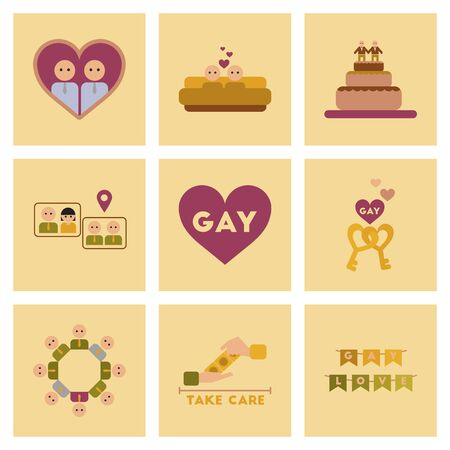 homosexual: assembly of flat icons gay homosexual relationships Illustration