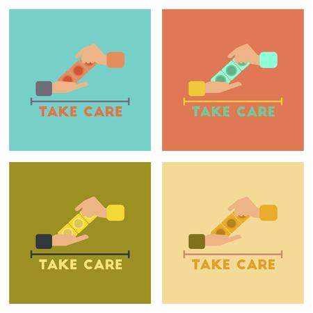 condones: montaje de iconos planos gays condones mano Vectores
