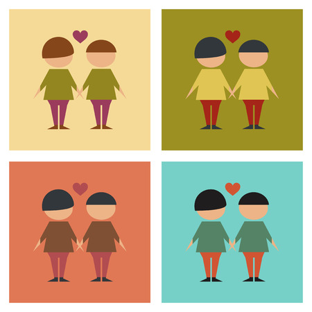 homosexual: assembly of flat icons homosexual gays lovers Illustration