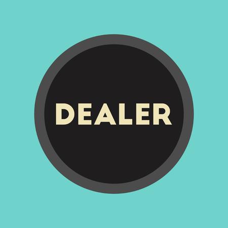 dealer: flat icon on stylish background poker chip dealer