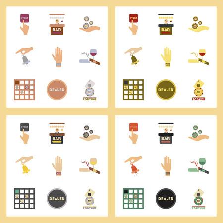 assemblaggio di icone piatte gioco da poker del casinò Vettoriali