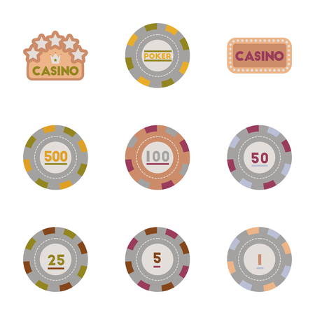 lasvegas: assembly of flat icons Casino poker chips