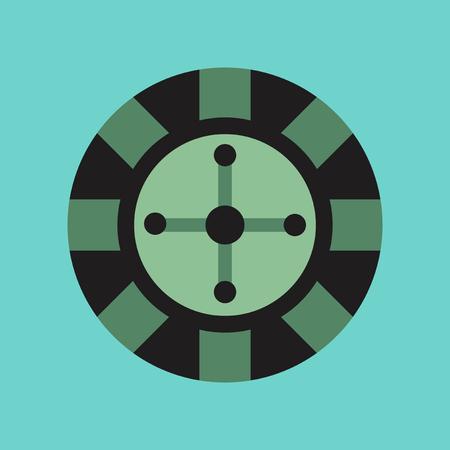 original single: flat icon on stylish background poker roulette casino Illustration