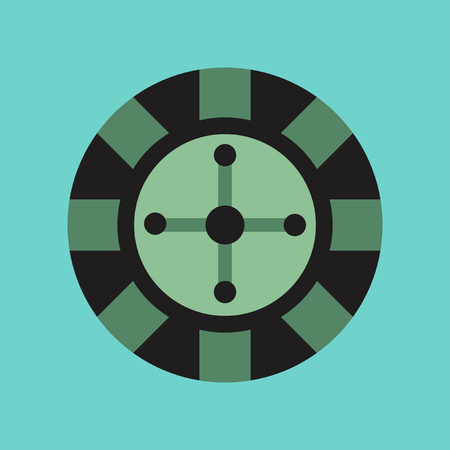 ruleta casino: flat icon on stylish background poker roulette casino Vectores