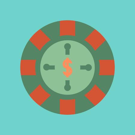 ruleta casino: icono de plano sobre fondo con estilo ruleta del casino Vectores