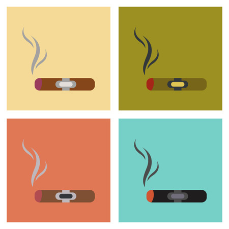 assembly of flat icons expensive cuba cigar Illustration