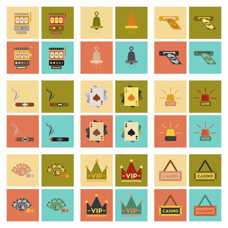 assemblaggio di icone piatte gioco da poker del casinò
