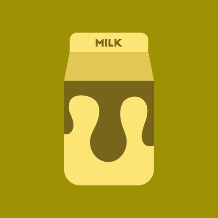icono de estilo plano en el cartón de fondo de café de la leche