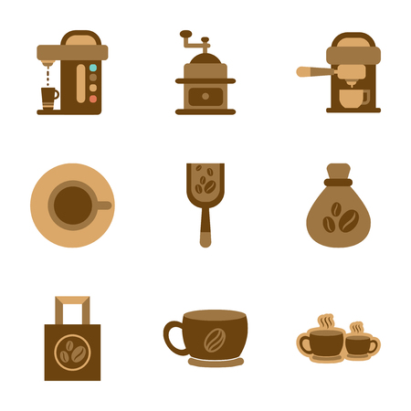 assembly of flat icons coffee Illustration